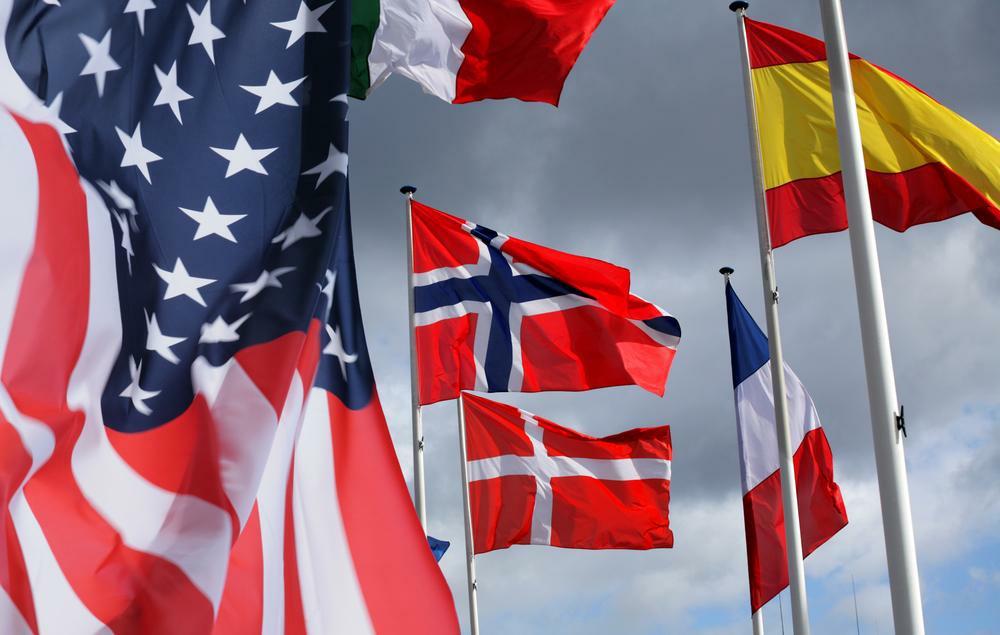 flagi euro i usa